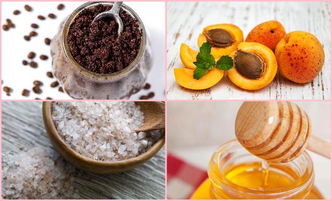 коллаж остатки кофе, абрикосы, морская соль и мед
